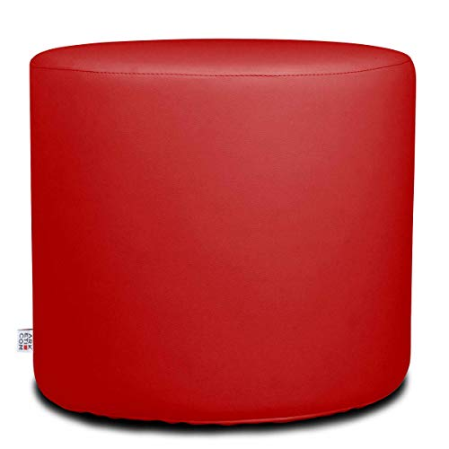 Arketicom Chill Pouf Ottoman Rond Repose Pied Tabouret Siege, Meubles Interieur Exterieur Design Made in Italy Puff Simili Cuir Tissu Fermeture Eclair, Nettoyage Facile Rouge Claire 42x42x42 cm