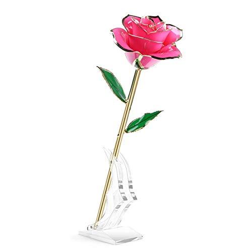 JIAOGH 24 Karat Gold Rose Blume, Forever Blume Tauchte Echte Rose, Mit Transparentem Stand, Romantische Geschenke, Für Frauen Ihre Frau Mama Am Valentinstag