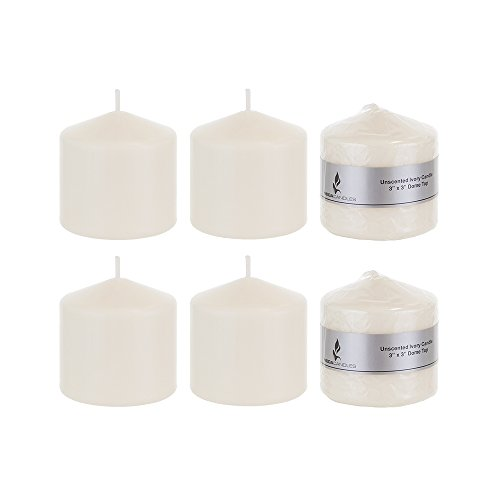 Mega Candles 6 pcs Unscented Ivory Round Pillar Candle, Pressed Premium Wax Candles 3 Inch x 3 Inch, - coolthings.us