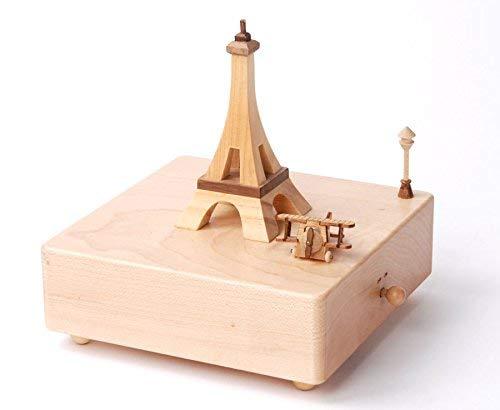 Musicboxworld 41001 Boîte à Musique en Bois Tour Eiffel, Dense, Multicolore, 140 mm