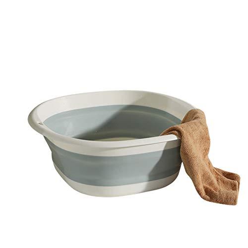 GAOYUAN Wastafel, draagbare opvouwbare plastic voetenbad wasbak voor thuis reizen, roze wit/blauw wit (blauw, 25,8 cm* 8,5 cm* 3 cm)
