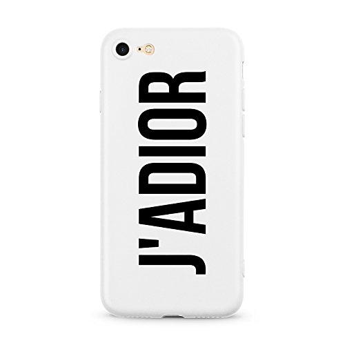 AVANA iPhone 7 / iPhone 8 Hülle Ultra Dünne Schutzhülle Flexibles Slim Fit Case Weiße Handyhülle Tasche Silikon White Cover Kameraschutz Muster (J'ADIOR)