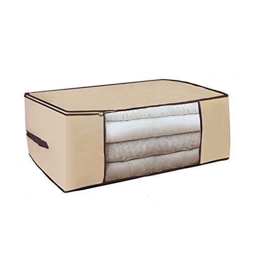 SMEJS 1 bolsa de almacenamiento para ropa, manta portátil, no tejida, plegable, para almohadas, colchas, mantas, organizador (color: beige, tamaño: mediano)
