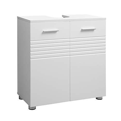 VASAGLE Wastafelmeubel met dubbele deur en verstelbare legplank, wastafel voor de badkamer, zacht sluitende scharnieren, 60 x 30 x 63 cm, wit BBK01WT