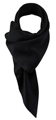 TigerTie Damen Chiffon Halstuch schwarz Uni mit Bordüre Gr. 80 cm x 80 cm - Schal