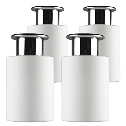 Frandy House Botellas difusoras de cristal blanco con tapas plateadas en forma de T, juego de 4 – 4.2 pulgadas de alto, 120 ml 4 oz. Accesorios de fragancia Uso para DIY Reed Difusor Set (blanco)