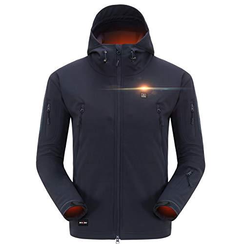 DEWBU Softshelljacke Beheizbare Jacke Softshell Winterjacke Heiz-Jacke mit Akku 7.4V und Ladegerät zum Outdoor Arbeiten Motorrad Schilaufen und Tägliches Tragen DB-12 2.0, Blau, XL