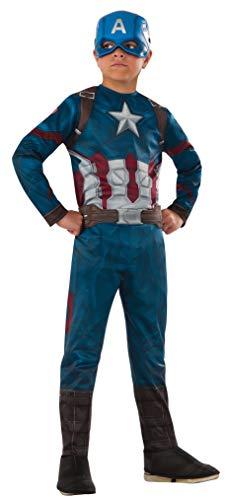 Rubies - Captain America Civil War - Déguisement Capitan America Classic CW, Costume pour enfants, L (8 - 10 ans)