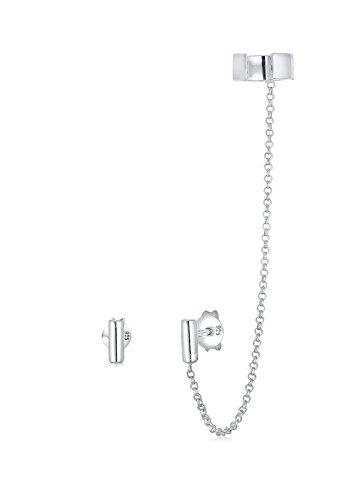 Elli Ohrringe Damen Earcuff Klemme Asymmetrisch Minimal Geo in 925 Sterling Silber