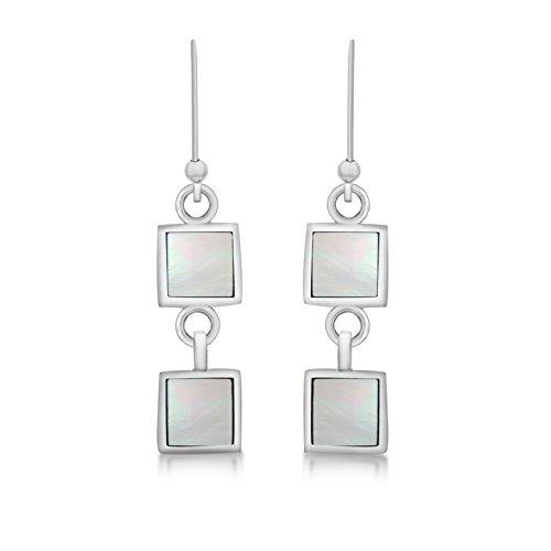 Tuscany Silver Pendiente colgantes Mujer plata Plata fina 925 nácar cuadrada - 8.57.9419