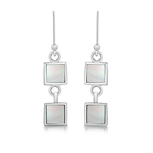 Tuscany Silver Sterling Silver White Mother of Pearl Double Square Drop Earrings
