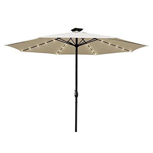 Hengda 300cm Sonnenschirm Beleuchtung Regenschirm Lichterkette mit 36 LED Lichter mit Fernbedienung wasserdichte Gartenleuchten für Party Dekoration Campingzelte Batteriebetrieben
