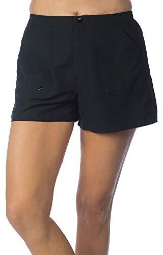 "Maxine Of Hollywood Women's Standard 3"" Woven Swim Boardshorts, Black, 12"