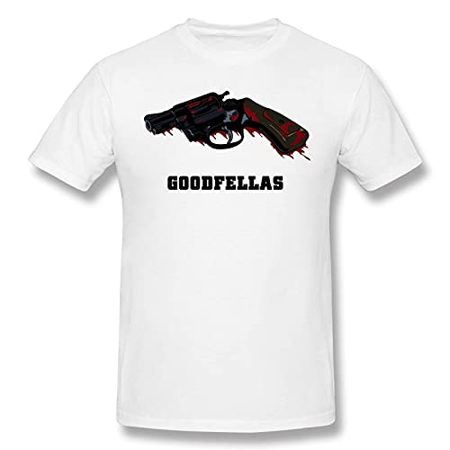 COOTHING Goodfellas Revolver Man Trend Casual Printed Basic Round Neck White T-Shirt