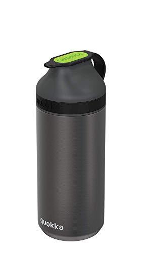 Quokka Trinkflasche aus Edelstahl, mit kleinem Magnet, 335 ml, Grün Fluorit, Schwarz, einzigartig