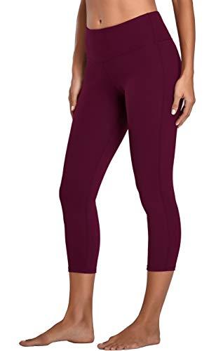 Oalka Women's Yoga Capris Running Pants Workout Leggings