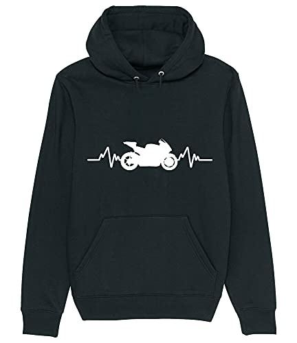 ASDD Motorbike Biker Rider Superbike - Heartbeat Style Hoodie Sweatshirt Black M