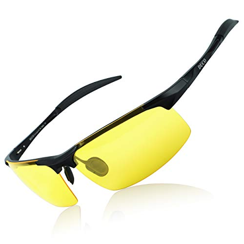 DUCO Nachtsichtbrillen polarisierte Nachtfahr-Brille Anti-Glanz Nachtfahrbrille 8177Y (Schwarz)