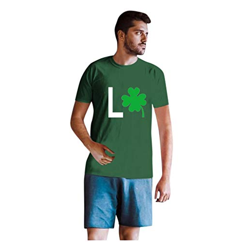 Dasongff T-shirt Klee Partner Look Paar T-shirt St. Patricks Day korte mouwen kostuum basic casual thee bovenstuk top blouses Medium groen/heren.