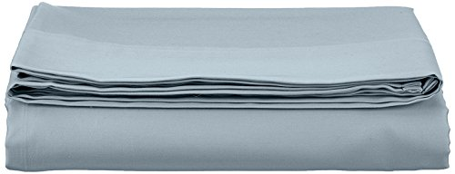 AmazonBasics Bettlaken, Baumwoll-Satin Fadenzahl 400, knitterarm, 180 x 290 + 10 cm - Blau (Smokey Blue)