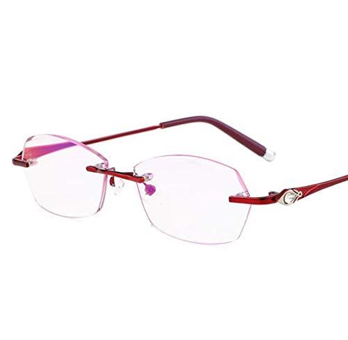 JTDSQDC Mode-Lesebrille High-End-Damen-Anti-Blau-Brille Anti-Blau-Lesebrille ohne Rand Die Lesebrille eignet Sich für alle Gesichtsformen von Männern und Frauen (Color : Pink, Size : +1.5X)