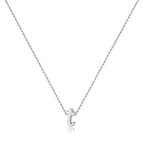 925 Sterling Silver Initial Necklace, Dainty Alphabet Letter T Cursive Initial Necklace for Women Girls, Valentines Mother's Day Girls Gifts Toddler Kids Jewelry Teenager Necklace for Teen Girls