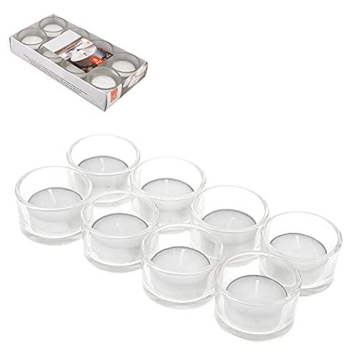 Smart Planet Juego de 8 velas de té con cristal, portavelas con recipiente de cristal, portavelas para casa y jardín, velas elegantes también como decoración