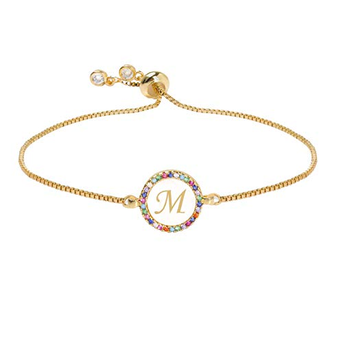 Watopi 1PC 26 Letters Pull Shell Bracelet Disc Bracelet Peach Heart Colorful Women's Bracelet Wrist Chain Accessories Gifts For Valentine's Day