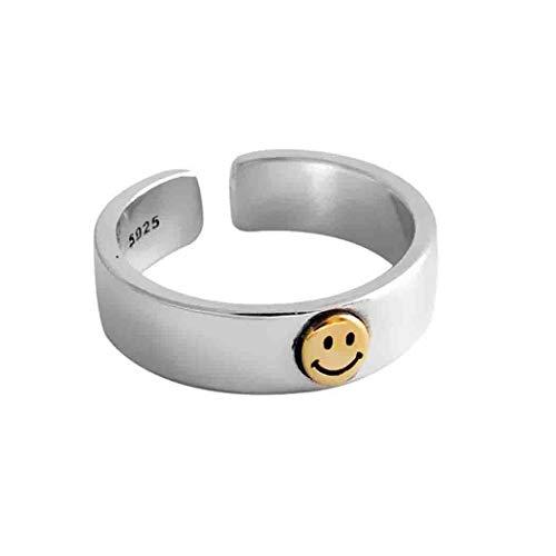 Mayelia Anillo de cara sonriente dorado anillo abierto vintage anillo anillo anillo ajustable de acero inoxidable para mujeres y niñas