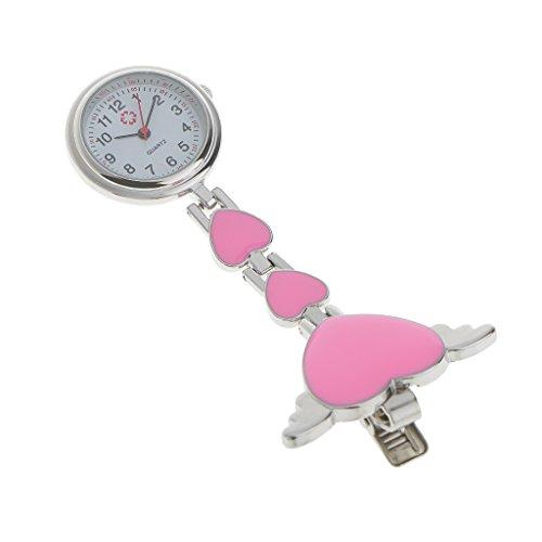 Krankenschwesteruhr - Schwesternuhr - Pflegeruhr - aus Metall - Herz Ketten - Medizinische FOB-Uhr - Taschenuhr - Ketteuhr (Rosa)