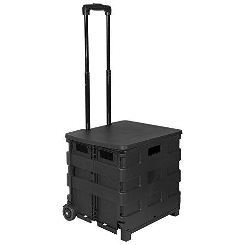 WOLTU EW4802sz Einkaufswagen 64L Einkaufstrolley Einkaufsroller Shopping Trolley klappbar bis 35kg mit Deckel Schwarz