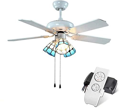 Control remoto de 42 pulgadas de ventilador de techo, lámpara de araña de la lámpara del ventilador de la sombra de la sombra de la vendimia, E27, MAX40W, la luz del techo de la cadena para la sala de
