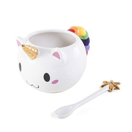 OddNot Kawaii Caticorn Tasse – handgefertigt, 425 ml Keramik Einhorn Tasse und Stern Zauberstab Löffel Geschenkset