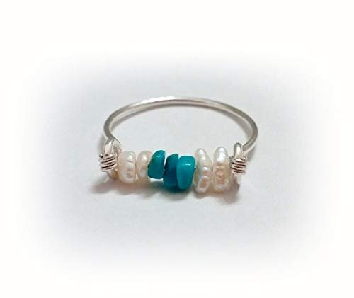 Authentic Sleeping Beauty Turquoise Freshwater Pearl and Argentium Sterling Silver Ring