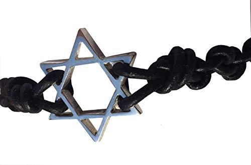 Estrella de David: Pulsera de piel con Estrella de David en plata