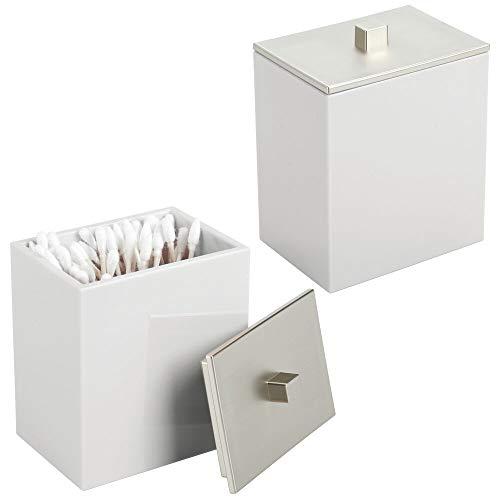 MDESIGN Wattepad Spender und Wattestäbchen Behälter – rechteckiger Aufbewahrungsbehälter mit praktischem Deckel – Bad Accessoire aus Kunststoff für Kosmetik – 2er Set – grau und mattsilberfarben