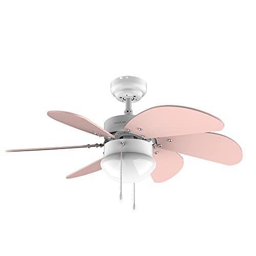 Cecotec Ventilador de techo EnergySilence 3600 Vision Nude. 50 W, Diámetro 92 cm, Lámpara, 3 Velocidades, 6 Aspas reversibles, Función Verano/Invierno, Interruptor de Cadena, Blanco/Nude