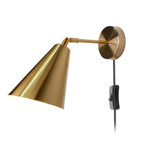 HTZ-M Aplique de Pared de latón con Enchufe, lámpara de Noche para Dormitorio con Interruptor, Cable de 1,8 m, lámpara de Pared Ajustable E27 para Sala de Estar, Pasillo, Oficina, Dorado