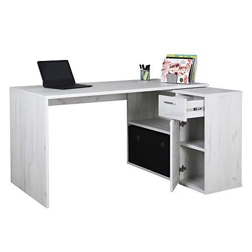 RICOO Schreibtisch Winkelkombination (WM083-EP) Holz Eiche Hell (Modell- & Farbauswahl) Büro-Arbeitstisch Computertisch Eckschreibtisch, Akten-Schrank Lowboard