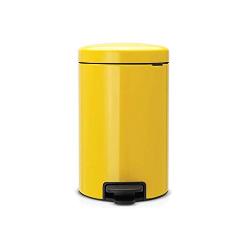 CJH Bote de Basura Cubo con Pedal Sala de Estar Hogar Acero Inoxidable con Tapa Bote de Basura (Color: Amarillo Tamaño: 12L),12L-Amarillo