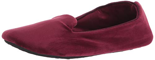 Isotoner Damen Velour Smoking Slipper, Braun (Henna)