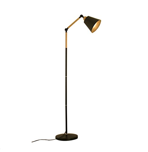 Tyannan Sala de estar Lámpara de pie, Pesca minimalista Protección de los ojos LED de la lámpara moderna creativa nórdica de la sala dormitorio de la lámpara Estudio (Color : Black)