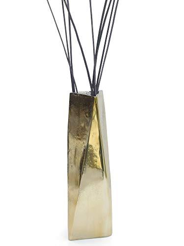 Colmore Vase Designervase Gold Aluminium - Höhe 37 cm - Dreieckige Dekovase 3D-Vase Dekoration modern Retro Metallvase