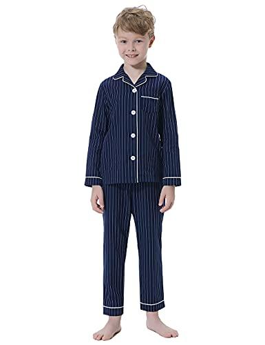 Irevial Pijama Niño Invierno 100% Algodón Pijama Set Manga Larga de Rayas para Niños 13 años...