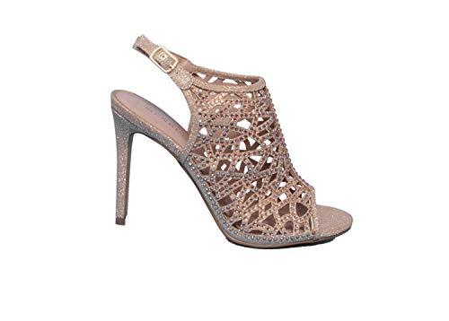 35 SALE /%/% Glitter High Heels Sandalette Silber Lack Pleaser Damensandalette Gr