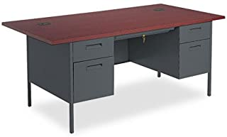 HON P3276NS Metro Classic Series 72 by 36 by 29-1/2-Inch Double Pedestal Desk, Mahogany