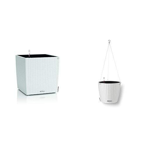 """LECHUZA Cube Cottage 30\"""" Pflanzgefäß mit ERD-Bewässerungs-System, Weiß, 30 x 30 x 30 cm & 15190 Nido Cottage Blumenampel, Inkl. Bewässerungssystem und Edelstahlaufhängung, weiß"""