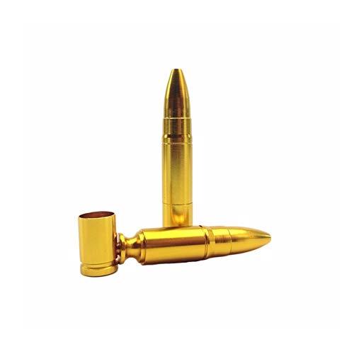 BLTR PC 1 Bala del Metal Tubos Creativa Pipa Hierba de Humo de Cigarrillos Titular Tabaco de Pipa cachimba Narguile Amoladora Accesorios Compacto (Color : Gold)