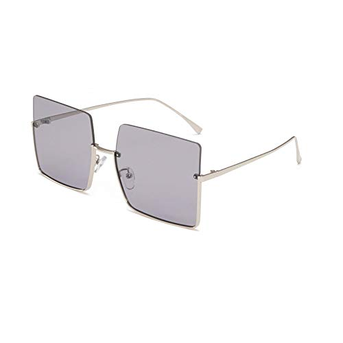 Gafas de Sol Gafas De Sol con Montura Media Sin Montura A La Moda para Mujer, Gafas Cuadradas con Degradado, Diseño De Marca, Gafas De Sol Semi Sin Montura Retro para Mujer, Uv400 C5