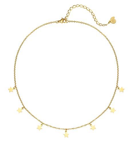 Happiness Boutique Damen Zarte Kette Sterne in Goldfarbe | Feine Choker Kette mit Kleinen Anhängern